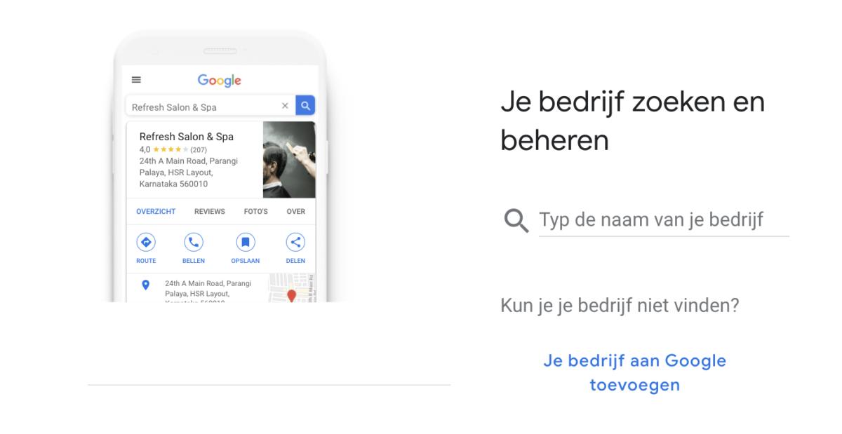 Bedrijf aanmelden binnen Google Mijn Bedrijf