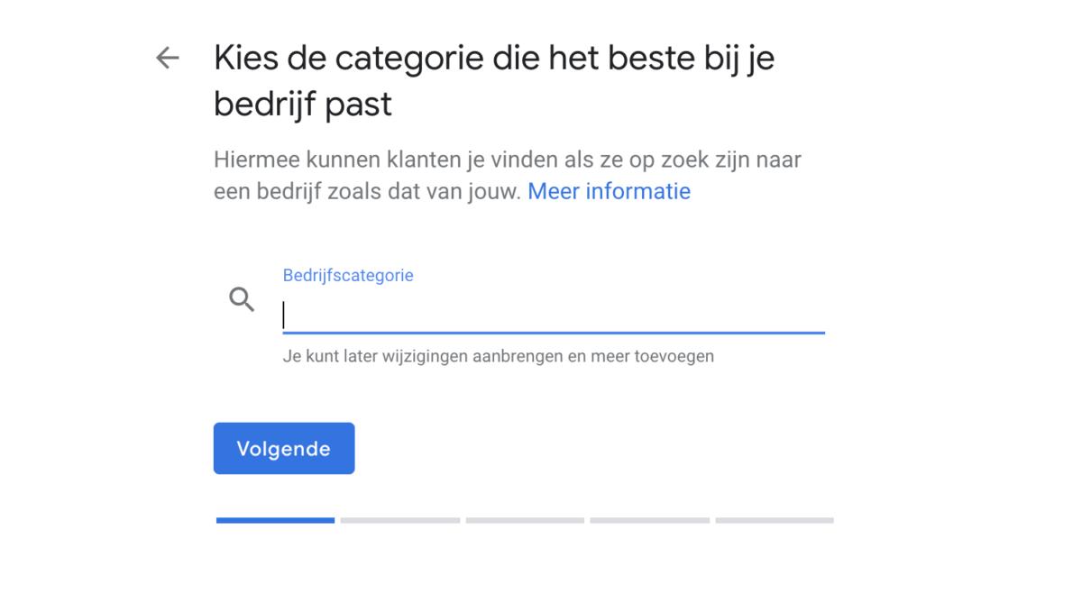 Bedrijfscategorie kiezen binnen Google Mijn Bedrijf