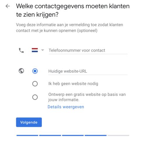Welke contactgegevens moeten klanten te zien krijgen binnen Google Mijn Bedrijf?