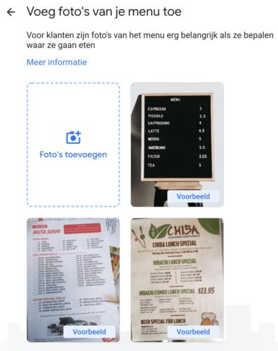 Voeg foto's van je menu toe binnen Google Mijn Bedrijf