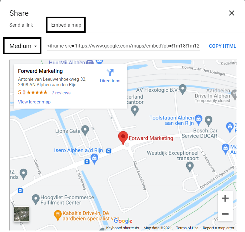 Google Maps embed a map