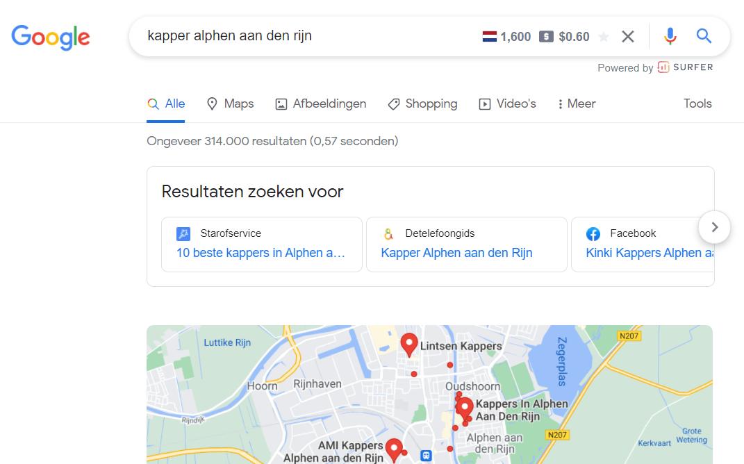 Lokale zoekopdracht met lokale SEO zoekresultaten