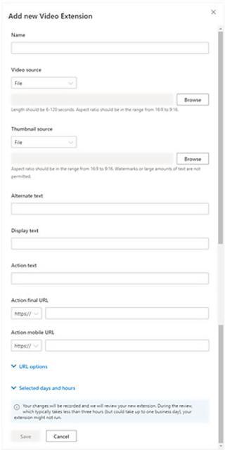 Microsoft advertising video extensie bing formulier voor aanleveren informatie